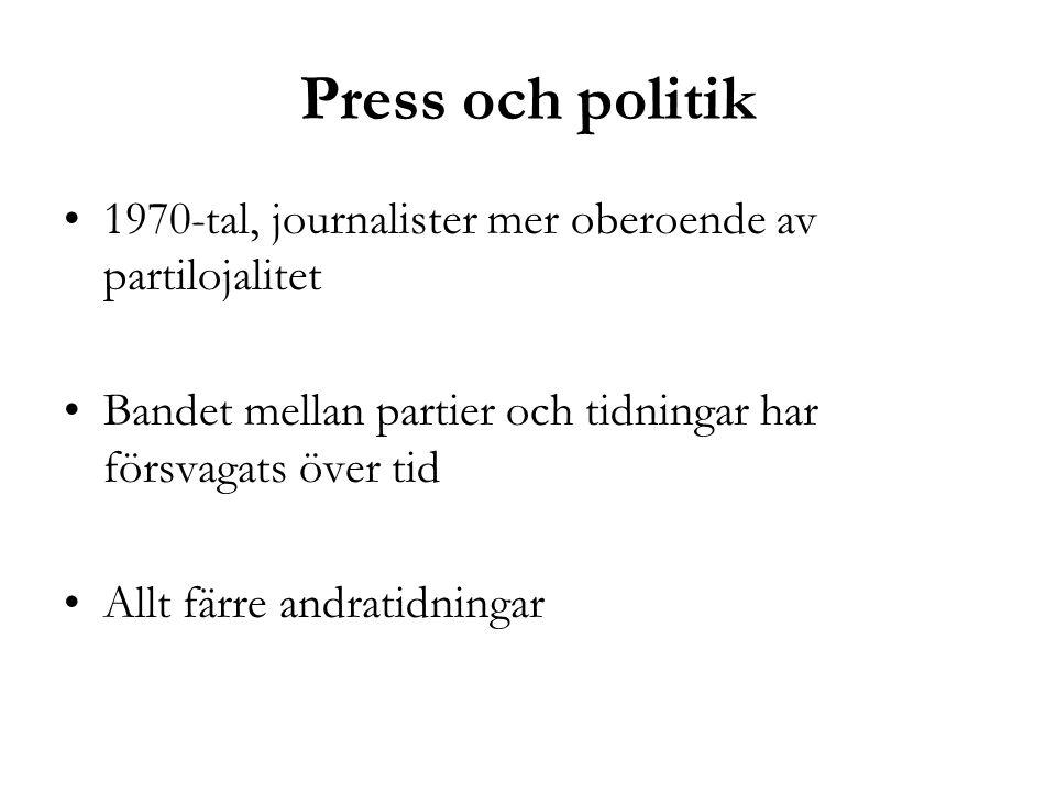 Press och politik 1970-tal, journalister mer oberoende av partilojalitet. Bandet mellan partier och tidningar har försvagats över tid.