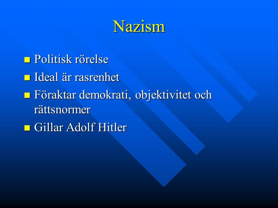 Nazism Politisk rörelse Ideal är rasrenhet