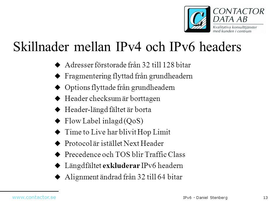 Skillnader mellan IPv4 och IPv6 headers
