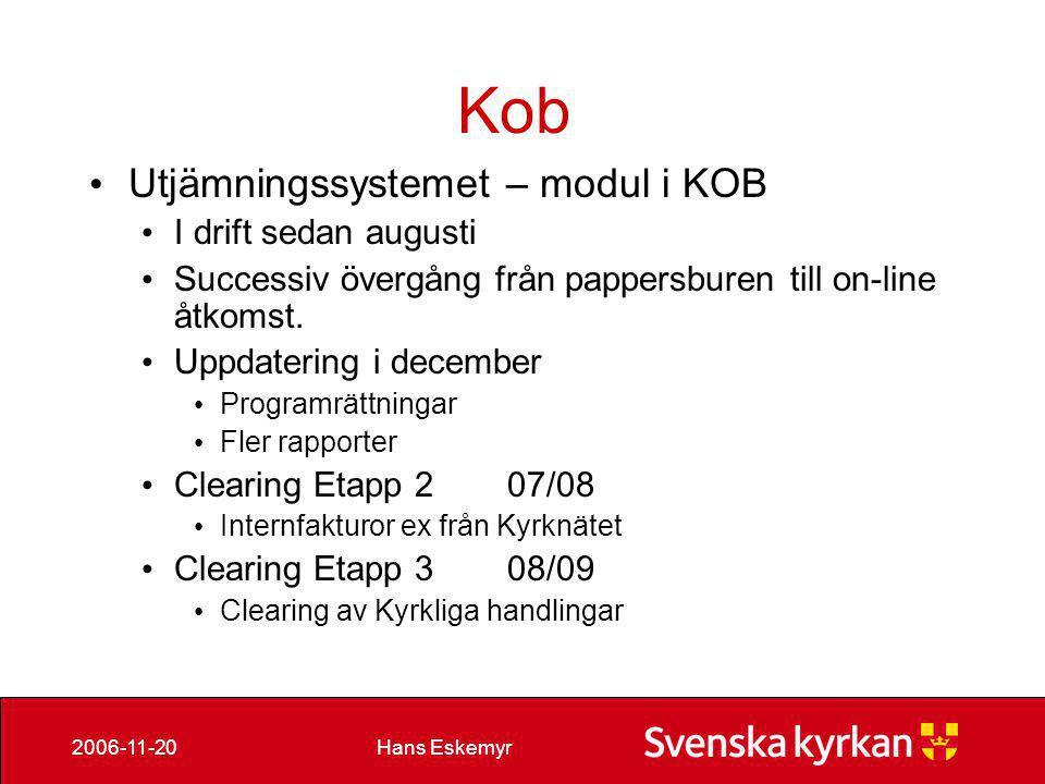 Kob Utjämningssystemet – modul i KOB I drift sedan augusti