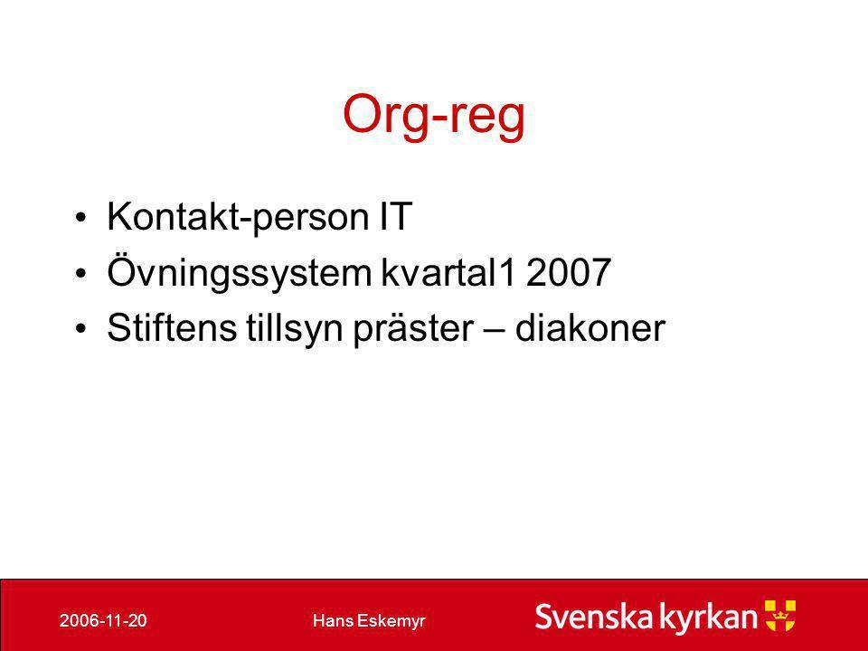 Org-reg Kontakt-person IT Övningssystem kvartal1 2007