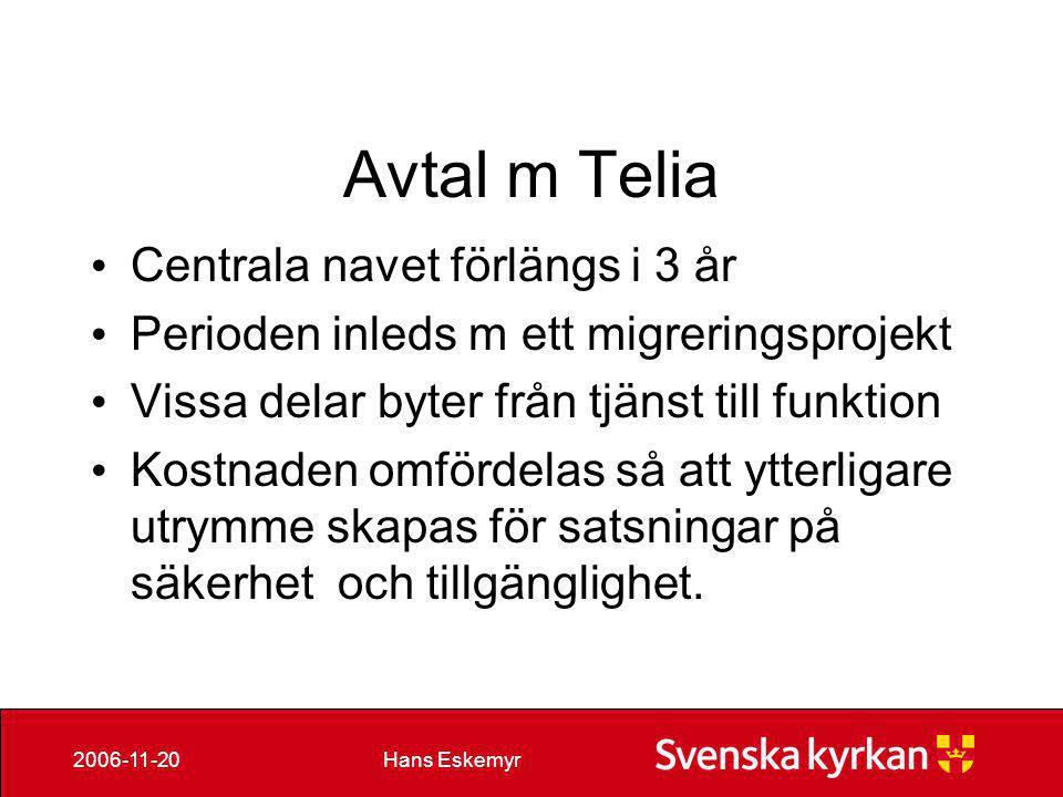 Avtal m Telia Centrala navet förlängs i 3 år