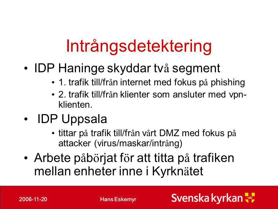 Intrångsdetektering IDP Haninge skyddar två segment IDP Uppsala