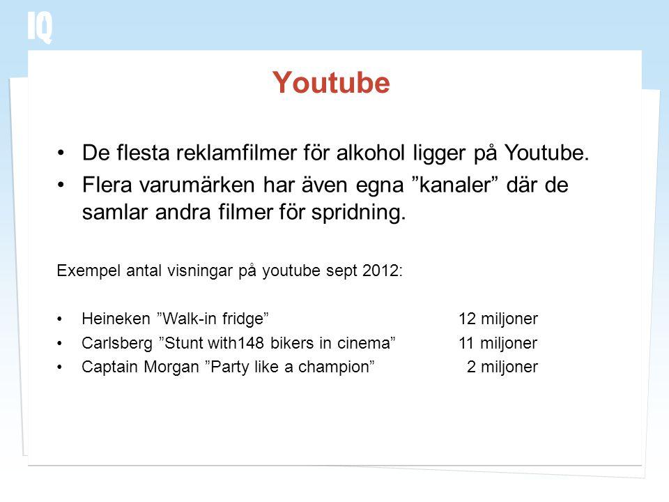 Youtube De flesta reklamfilmer för alkohol ligger på Youtube.