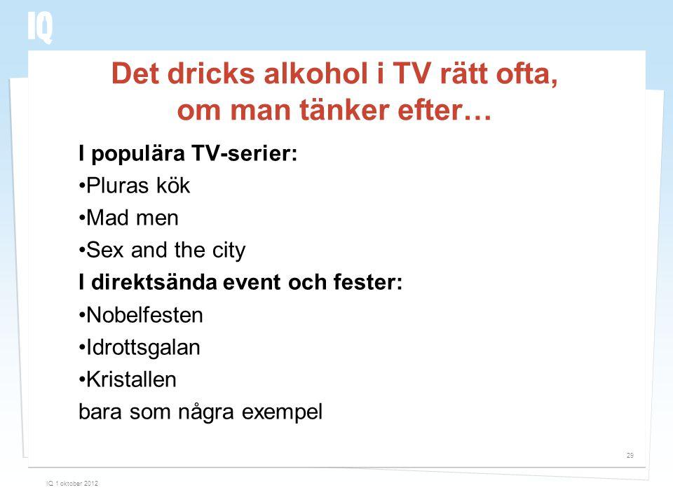 Det dricks alkohol i TV rätt ofta, om man tänker efter…
