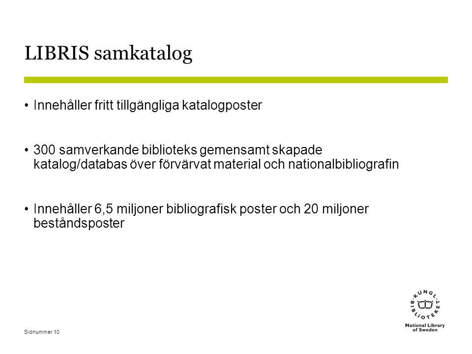 LIBRIS samkatalog Innehåller fritt tillgängliga katalogposter