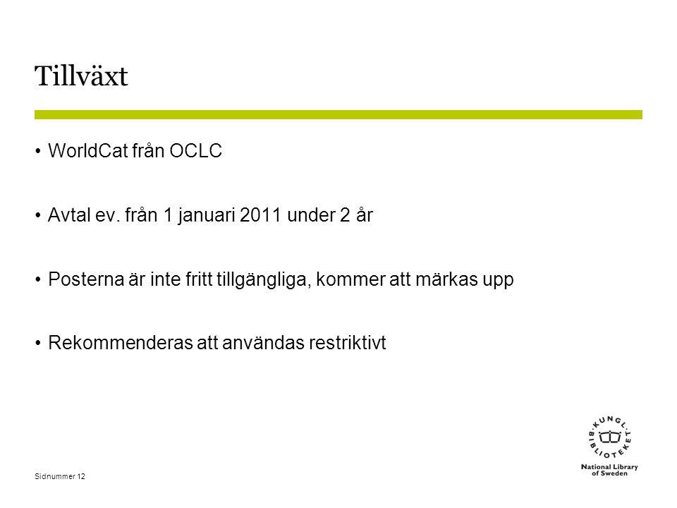 Tillväxt WorldCat från OCLC Avtal ev. från 1 januari 2011 under 2 år