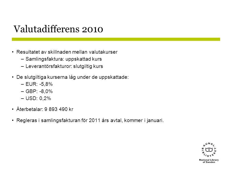 Valutadifferens 2010 Resultatet av skillnaden mellan valutakurser