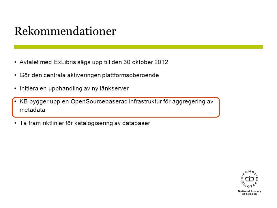 Rekommendationer Avtalet med ExLibris sägs upp till den 30 oktober 2012. Gör den centrala aktiveringen plattformsoberoende.