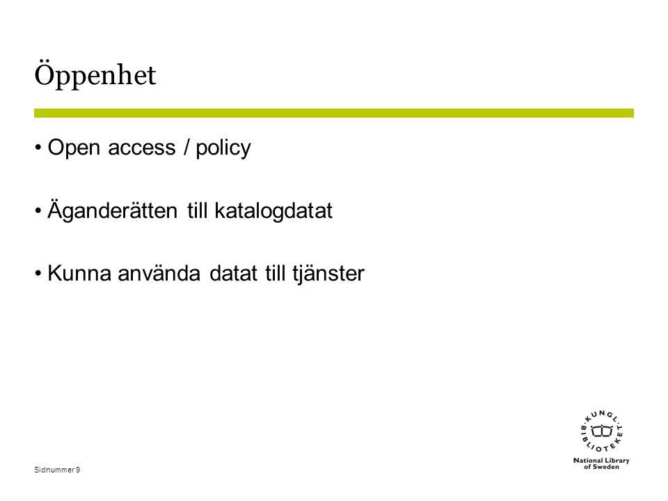 Öppenhet Open access / policy Äganderätten till katalogdatat