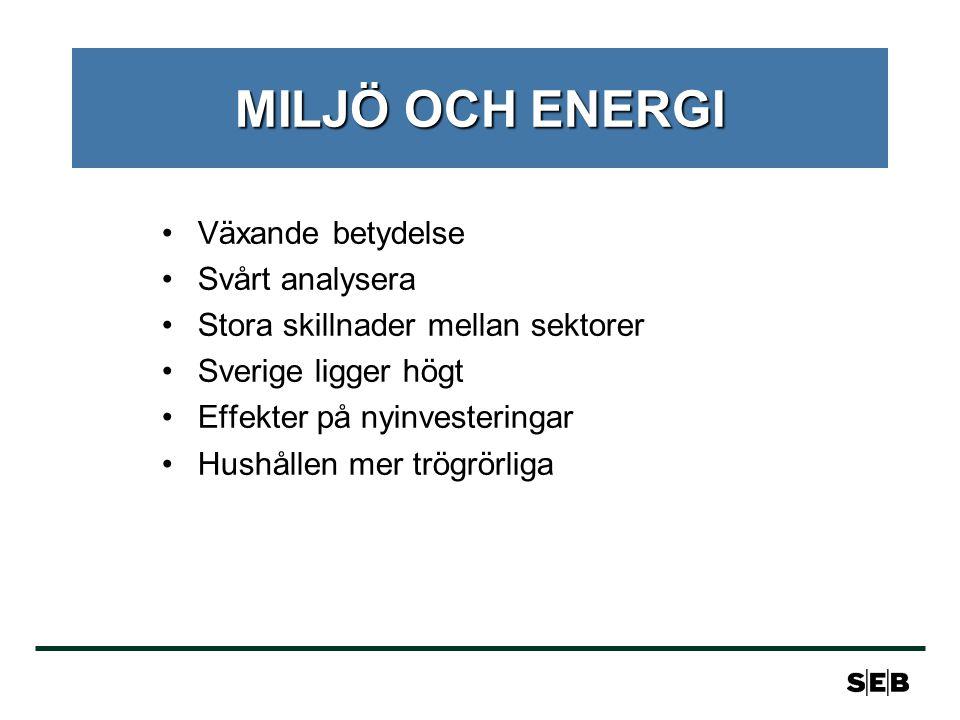 MILJÖ OCH ENERGI Växande betydelse Svårt analysera