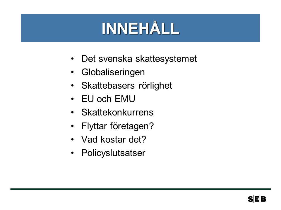 INNEHÅLL Det svenska skattesystemet Globaliseringen
