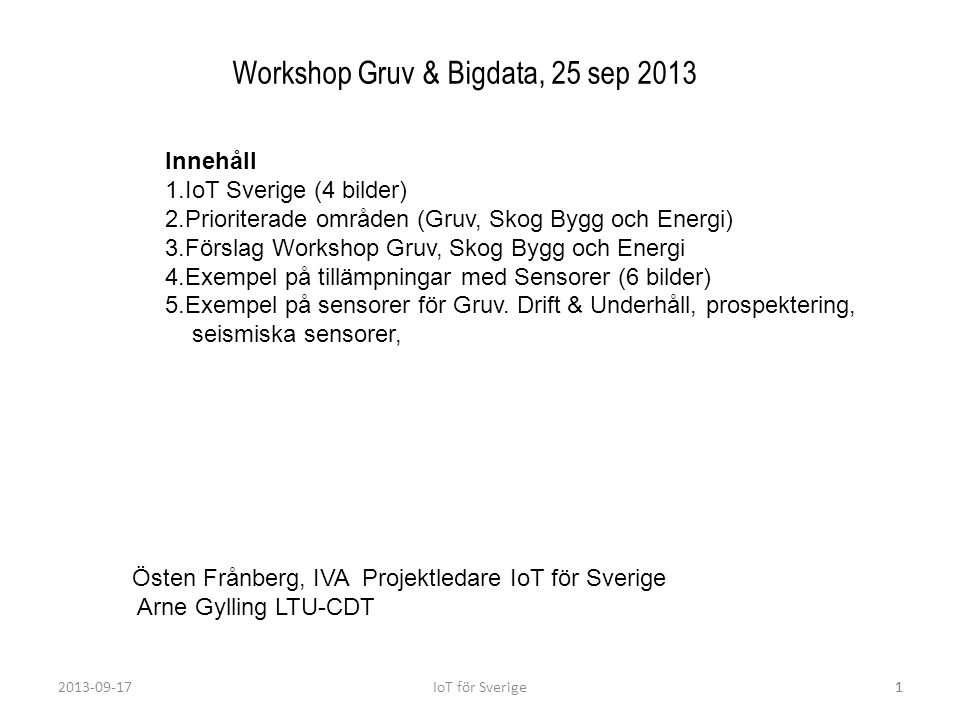 Workshop Gruv & Bigdata, 25 sep 2013