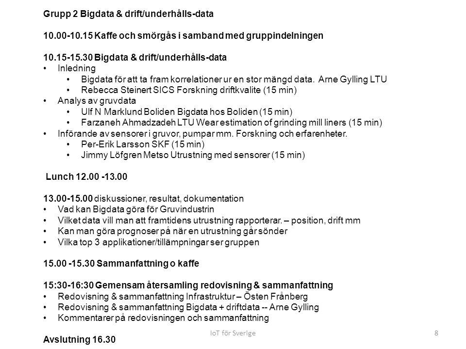 Grupp 2 Bigdata & drift/underhålls-data