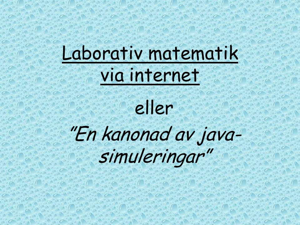 Laborativ matematik via internet