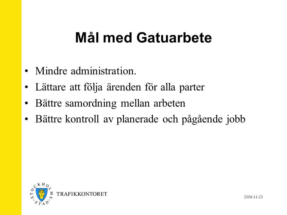 Mål med Gatuarbete Mindre administration.