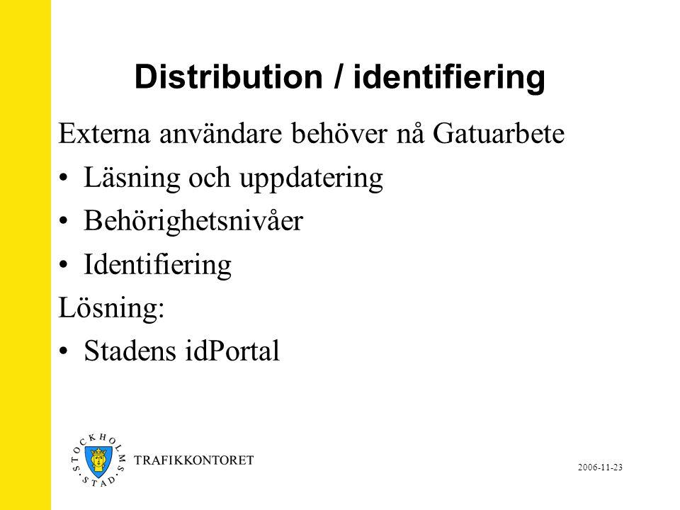 Distribution / identifiering