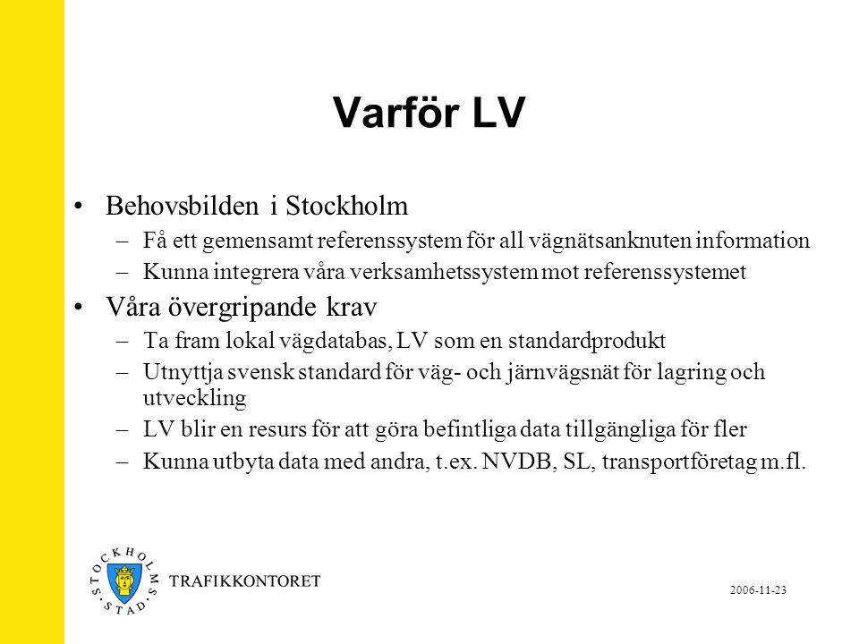 Varför LV Behovsbilden i Stockholm Våra övergripande krav