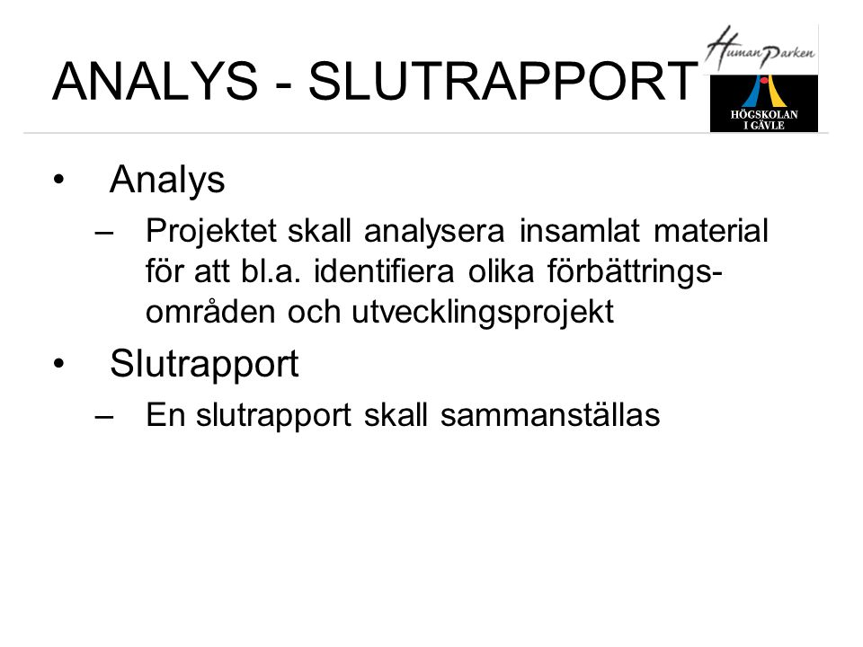 ANALYS - SLUTRAPPORT Analys Slutrapport