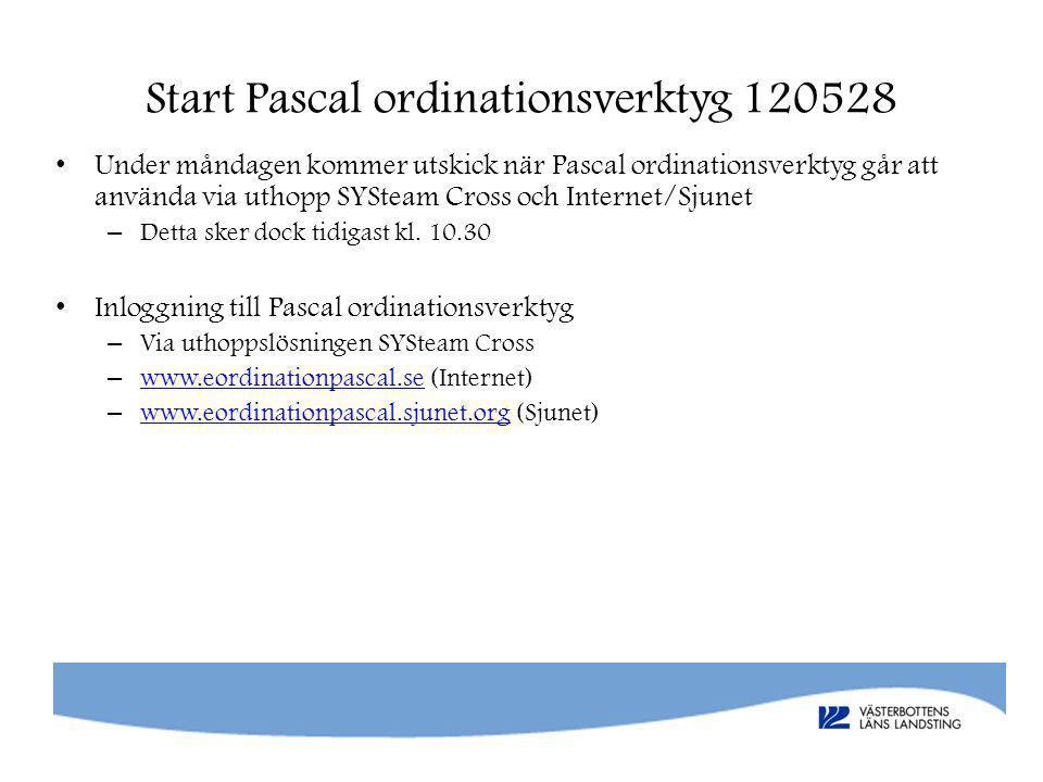 Start Pascal ordinationsverktyg 120528