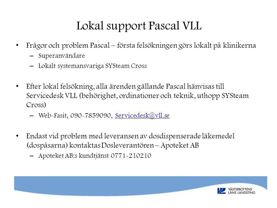 Lokal support Pascal VLL