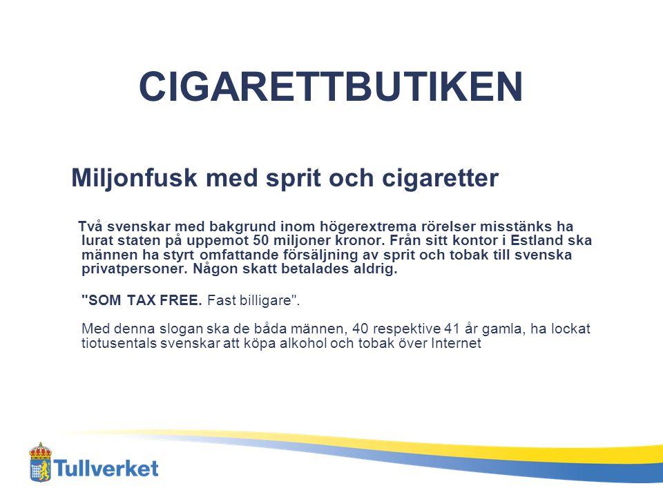CIGARETTBUTIKEN Miljonfusk med sprit och cigaretter
