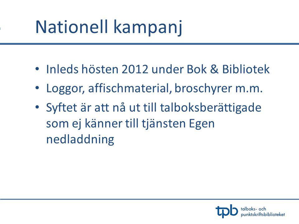 Nationell kampanj Inleds hösten 2012 under Bok & Bibliotek
