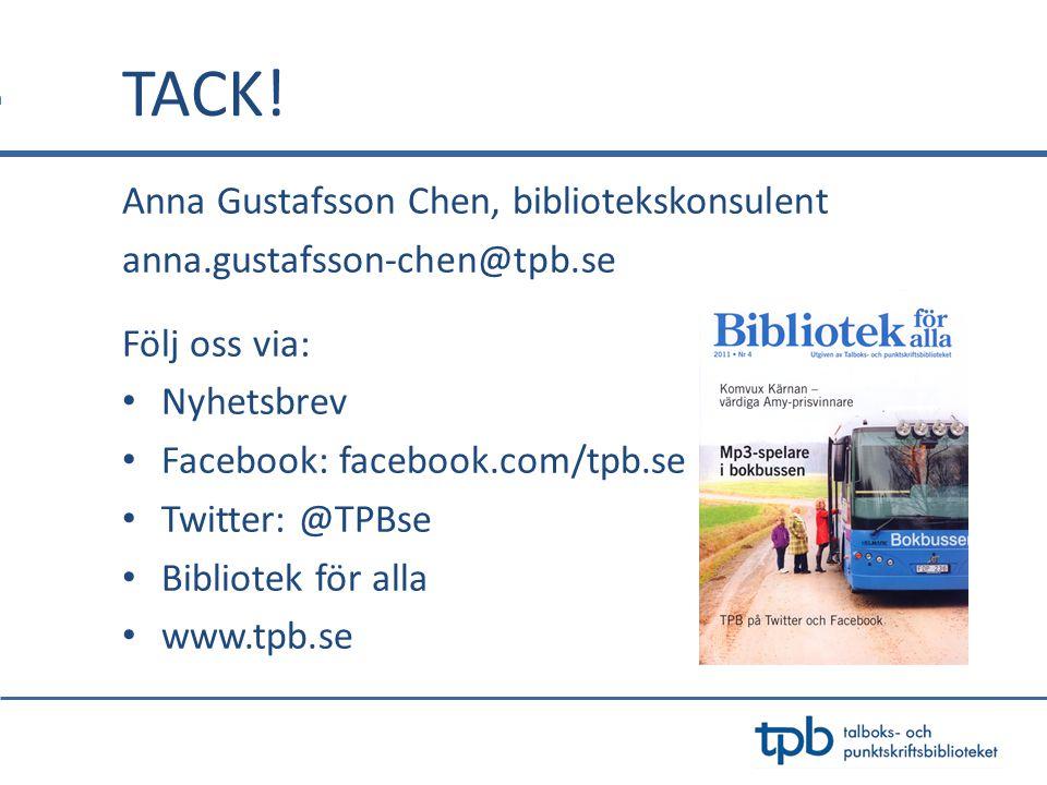 TACK! Anna Gustafsson Chen, bibliotekskonsulent
