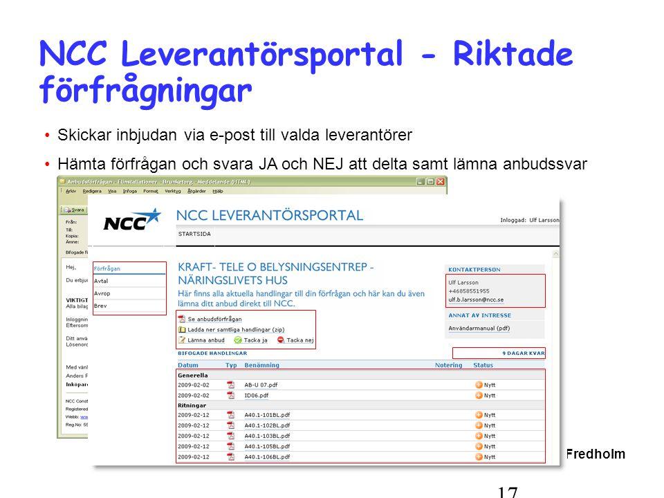 NCC Leverantörsportal - Riktade förfrågningar