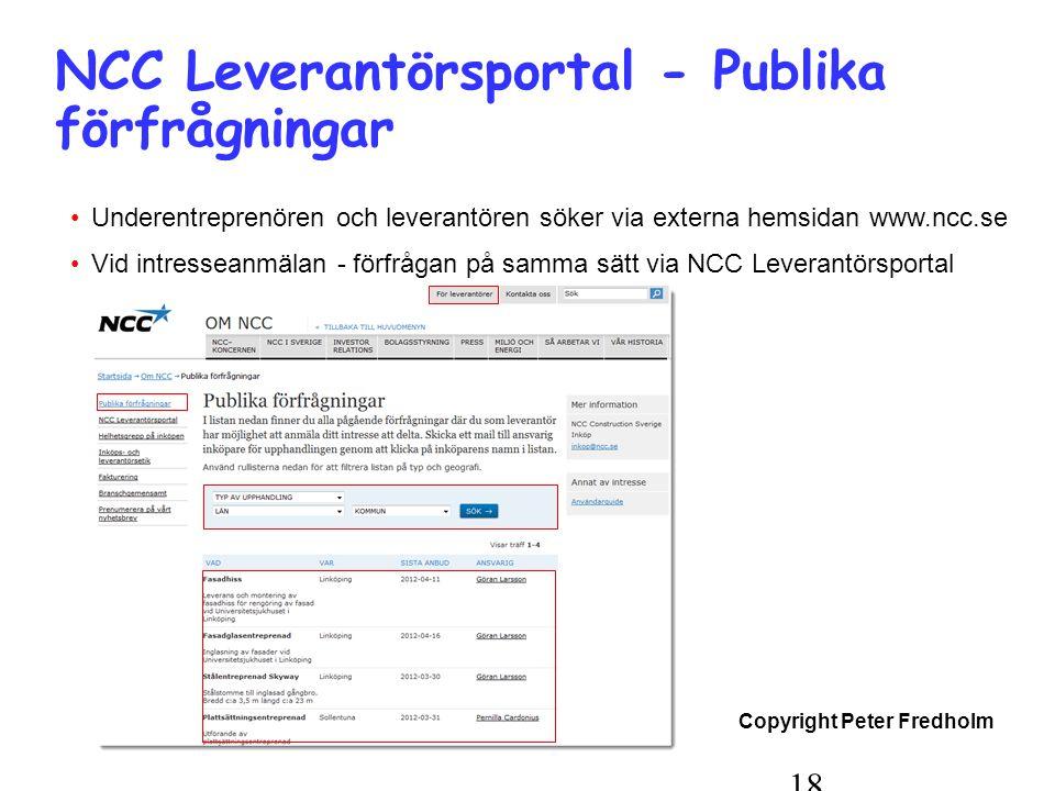 NCC Leverantörsportal - Publika förfrågningar