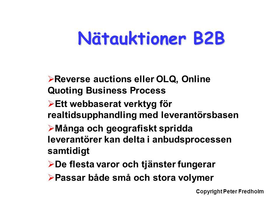 Nätauktioner B2B Reverse auctions eller OLQ, Online Quoting Business Process. Ett webbaserat verktyg för realtidsupphandling med leverantörsbasen.