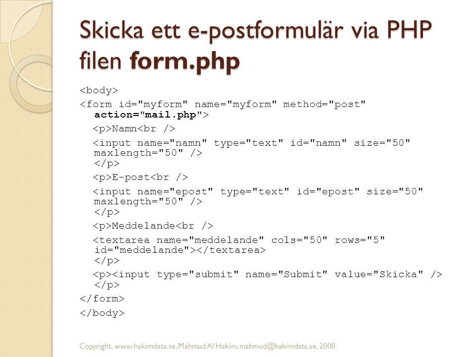 Skicka ett e-postformulär via PHP filen form.php