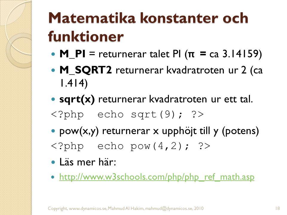 Matematika konstanter och funktioner