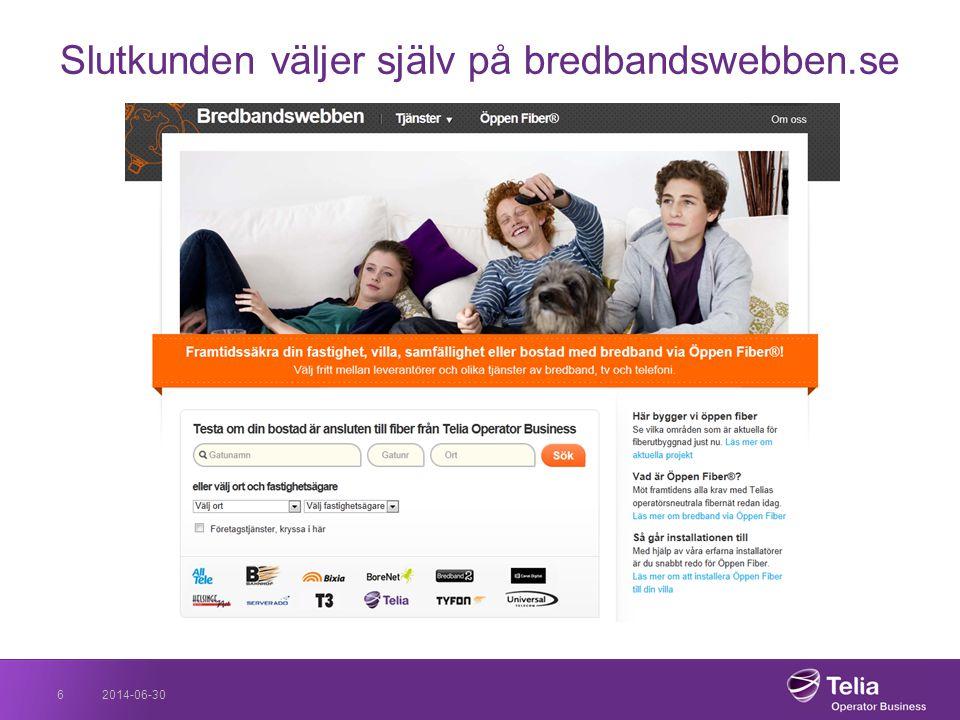 Slutkunden väljer själv på bredbandswebben.se