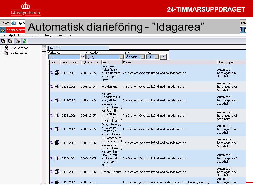 Automatisk diarieföring - Idagarea