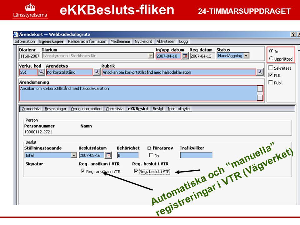 eKKBesluts-fliken Automatiska och manuella