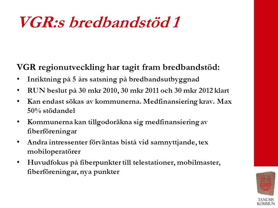 VGR:s bredbandstöd 1 VGR regionutveckling har tagit fram bredbandstöd: