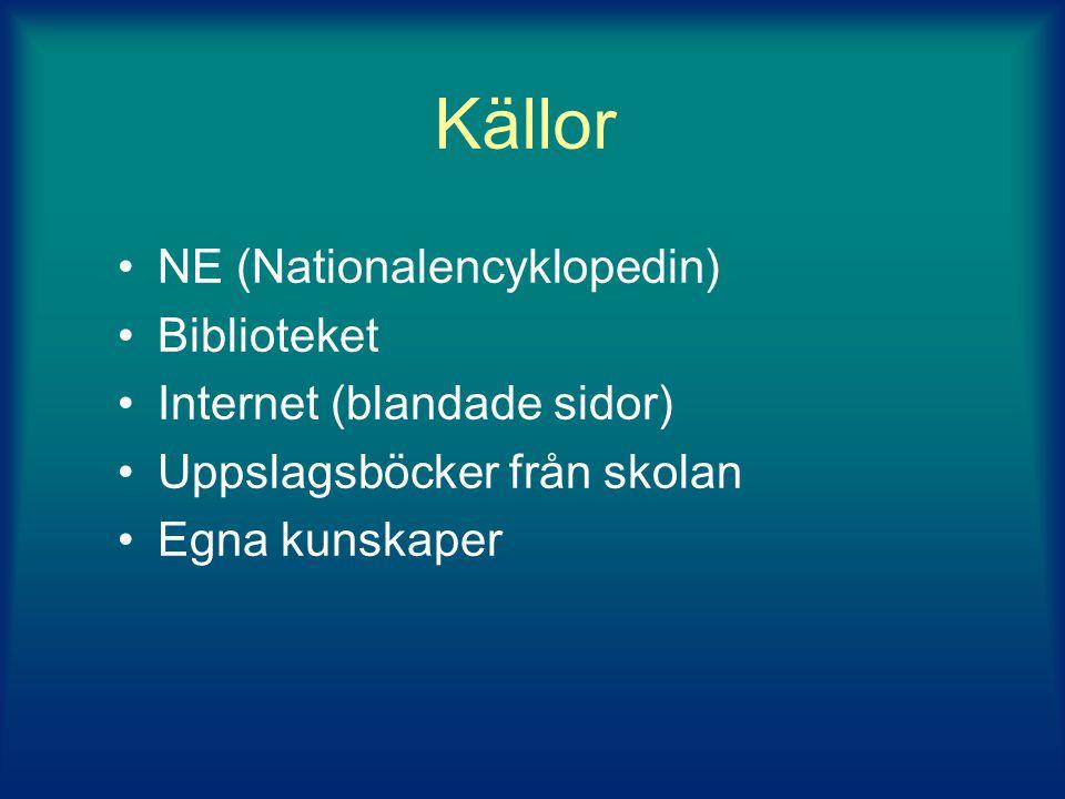 Källor NE (Nationalencyklopedin) Biblioteket Internet (blandade sidor)