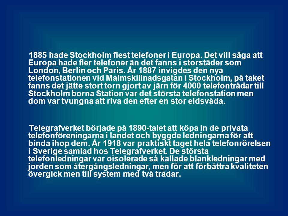1885 hade Stockholm flest telefoner i Europa