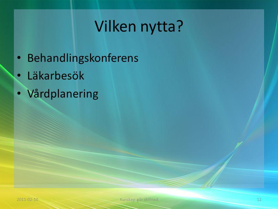 Vilken nytta Behandlingskonferens Läkarbesök Vårdplanering 2011-02-10