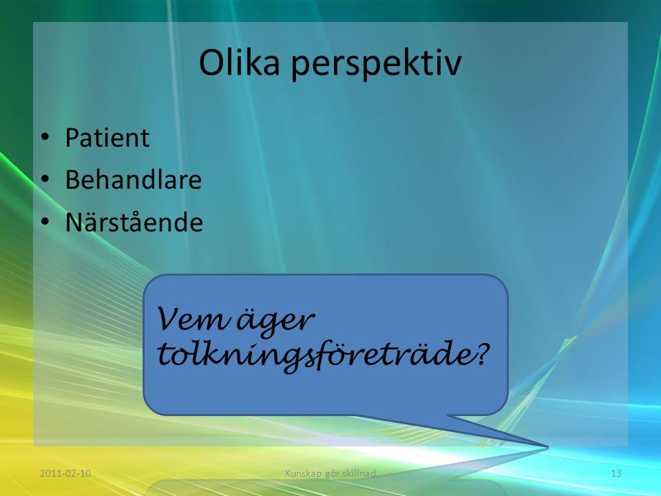Olika perspektiv Patient Behandlare Närstående