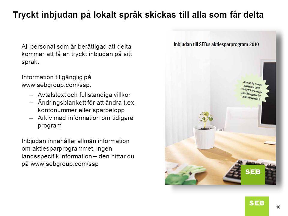 Tryckt inbjudan på lokalt språk skickas till alla som får delta