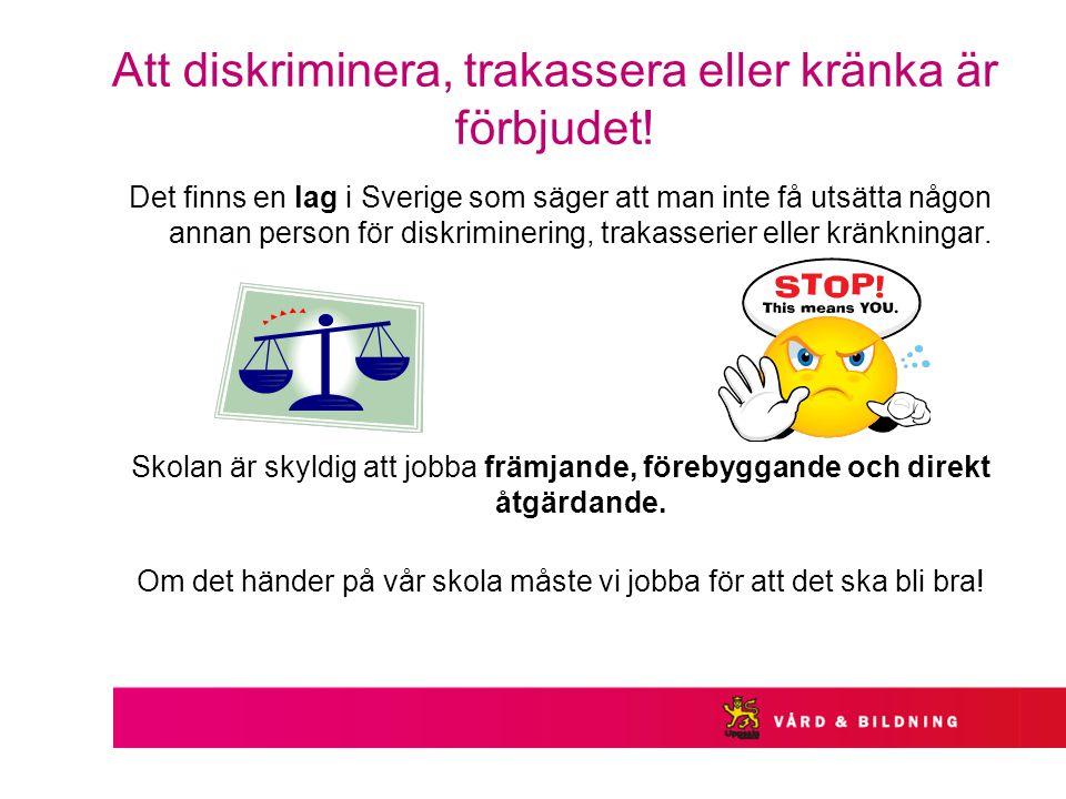 Att diskriminera, trakassera eller kränka är förbjudet!