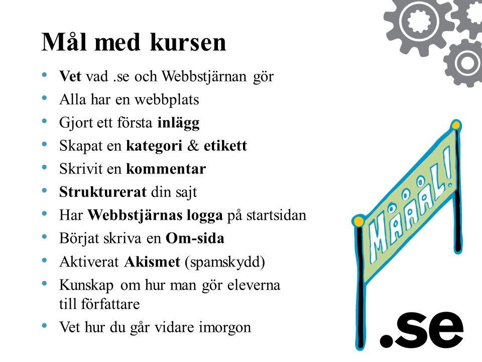 Mål med kursen Vet vad .se och Webbstjärnan gör Alla har en webbplats