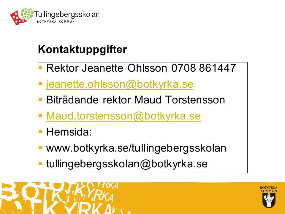 Kontaktuppgifter Rektor Jeanette Ohlsson 0708 861447. jeanette.ohlsson@botkyrka.se. Biträdande rektor Maud Torstensson.