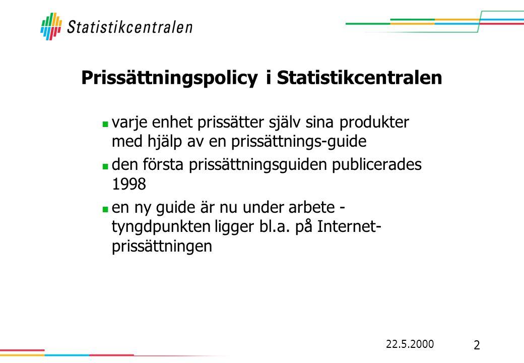 Prissättningspolicy i Statistikcentralen