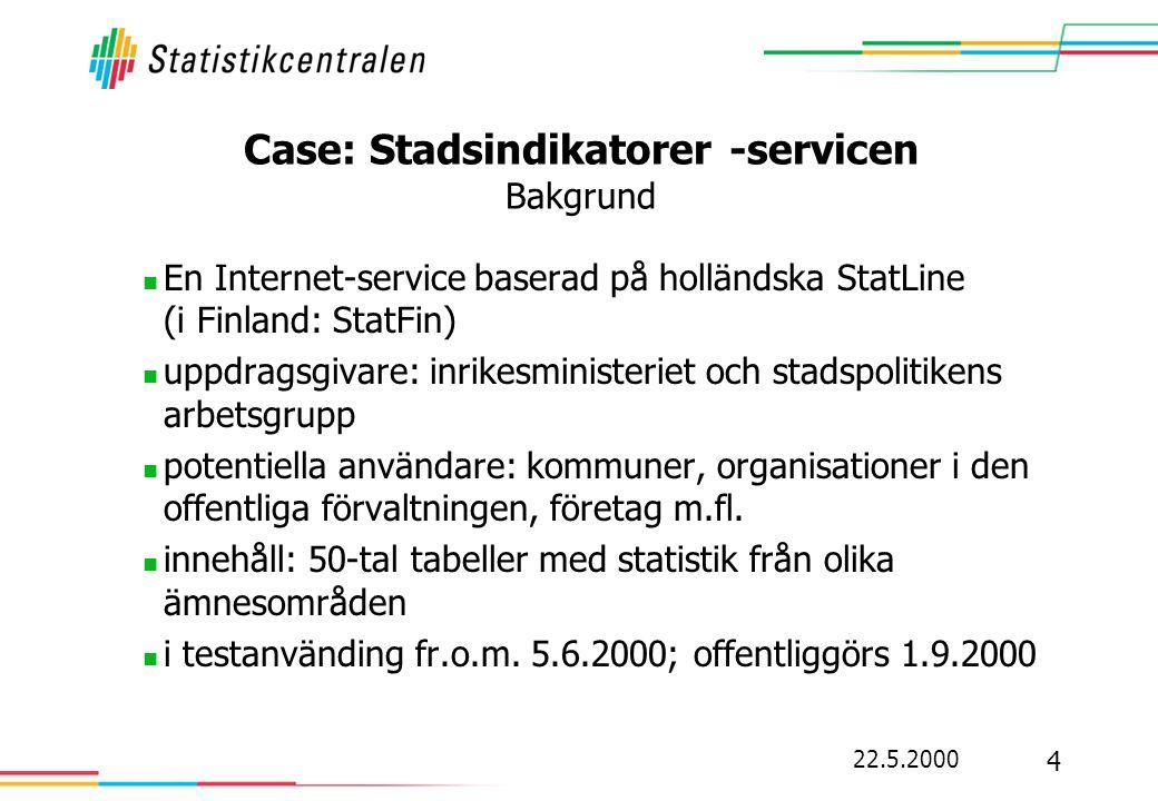Case: Stadsindikatorer -servicen Bakgrund