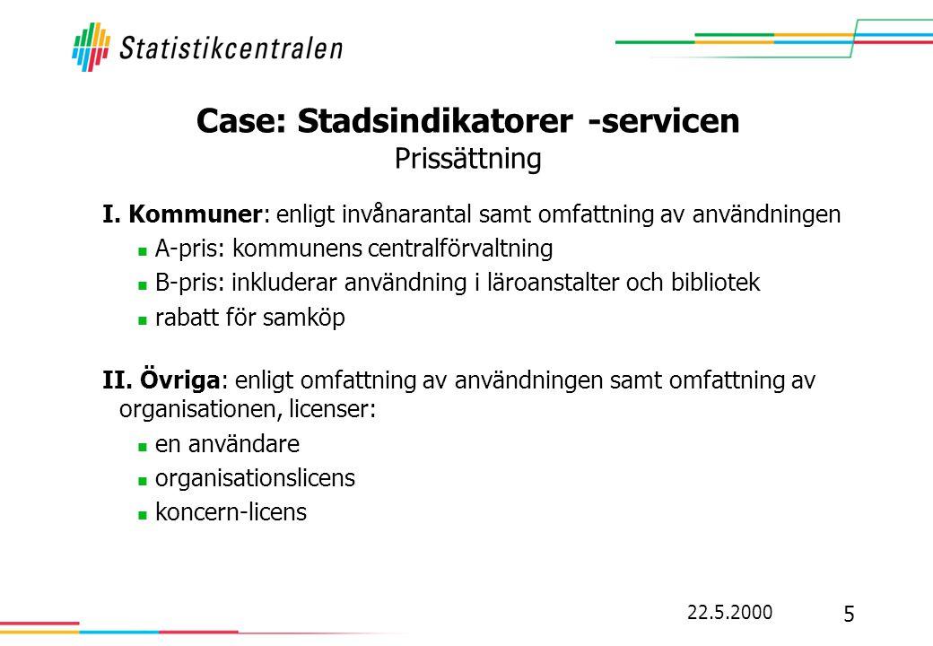 Case: Stadsindikatorer -servicen Prissättning