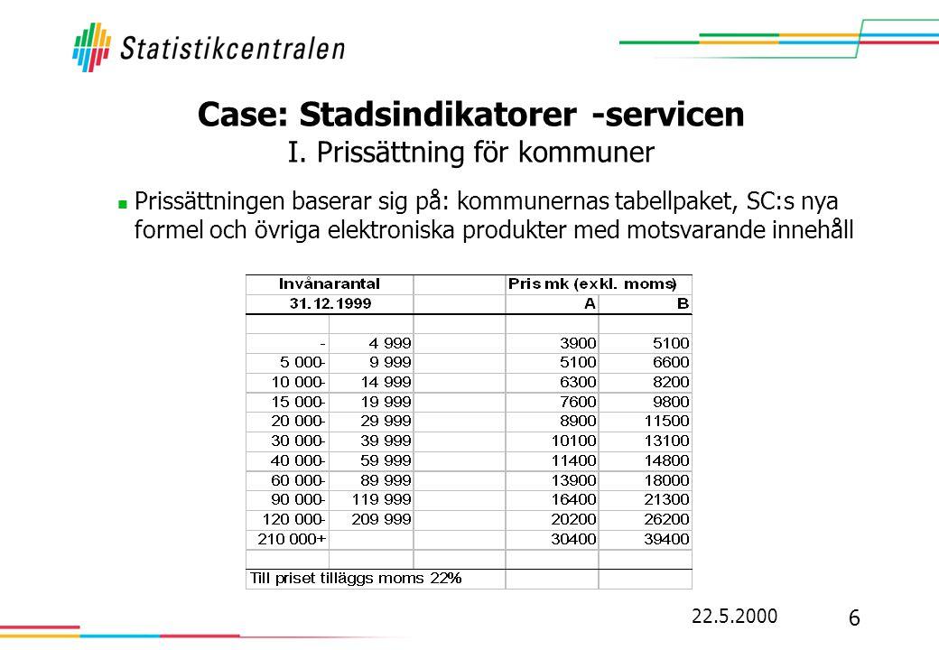 Case: Stadsindikatorer -servicen I. Prissättning för kommuner