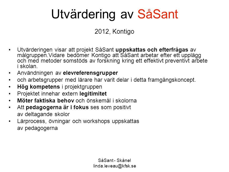 Utvärdering av SåSant 2012, Kontigo